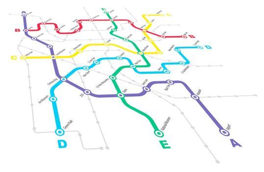 Fictitious City Public Transport Scheme on White Background
