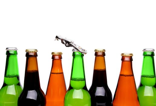 Top bottles of beer and a opener.