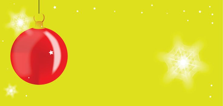 A Christman background with copy space over faded red and yellow.