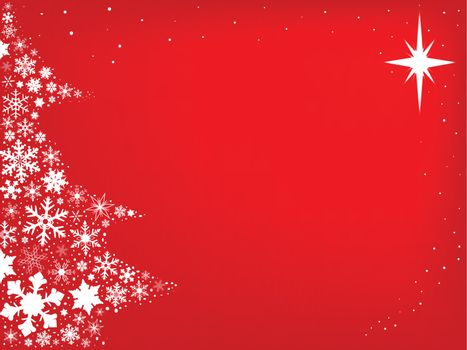 Red background with snowflakes in the form of a Christmas Tree