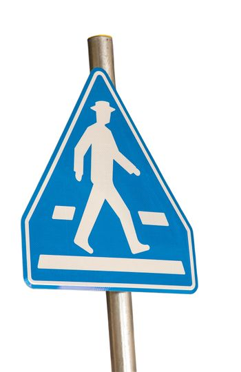 pedestrian blue traffic sign isolated on white background
