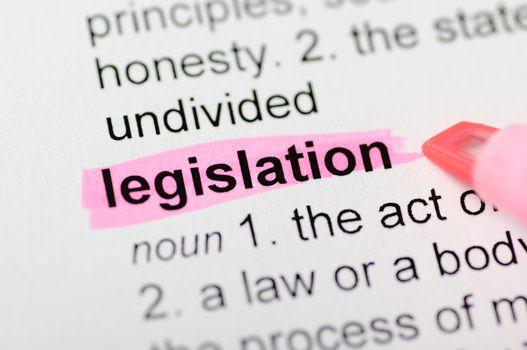 Legislation highlighted in dictionary