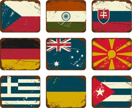 Vintage Metal Flags