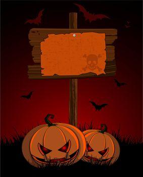 Halloween wooden  sign and pumpkins
