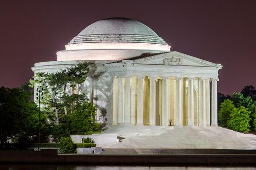 Scenic night view of the Jefferson Memorial in Washington DC