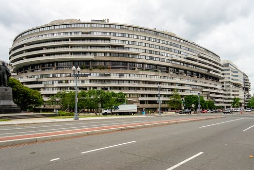 WASHINGTON, DC - CIRCA MAY 2013: The Watergate Complex circa May 2013. The complex is a group of five buildings in the Foggy Bottom neighborhood of Washington, D.C. and it is best known for the Watergate Scandal of President Nixon.