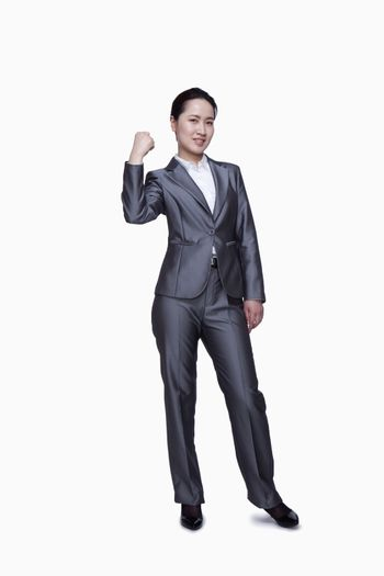 Businesswoman showing her strength