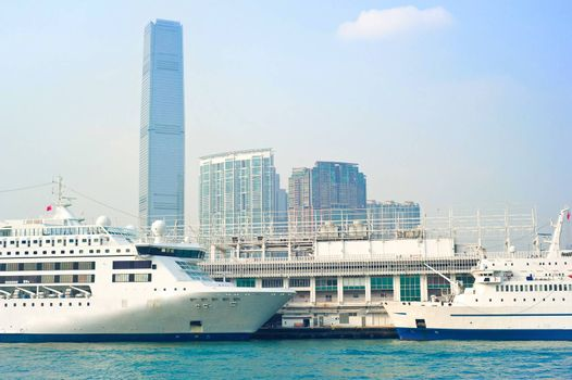 View on Kowloon island from ferry boat. Hong Kong S.A.R.