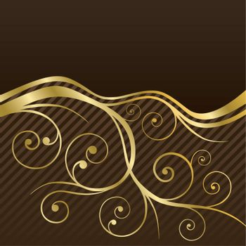 Brown and gold swirls coffee or restaurant menu cover. This image is a vector illustration.