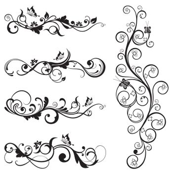 Collection of vintage floral silhouette designs with butterflies and swirls. This image is a vector illustration.