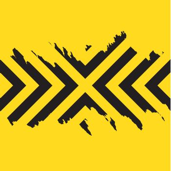 Worn black chevron style stripes over a yellow background.