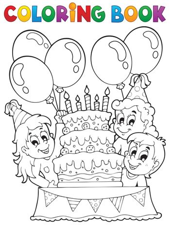Coloring book kids party theme 2 - eps10 vector illustration.