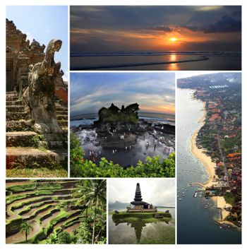 Collage from 6 photos Island Bali, Indonesia