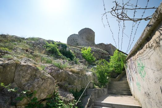 Ancient fortress in mountains