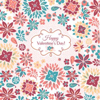 Abstract Valentine's day floral card vector illustration