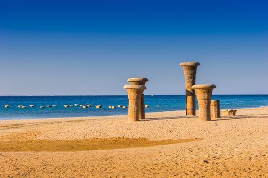 Egyptian designs on the beach