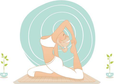 Vector illustration of Beautiful woman doing yoga practice