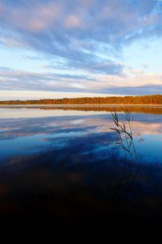 Lake smooth surface.