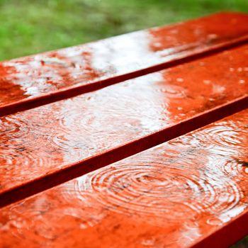 Rain drops on a bench