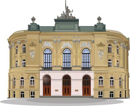 Public Warsaw School of Technology exterior facade. Color vector illustration.