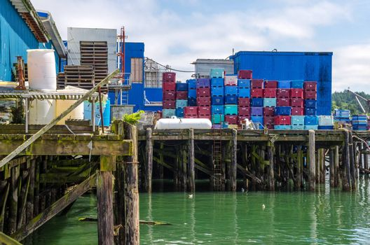 View of a dock and fish processing plant in Newport, Oregon