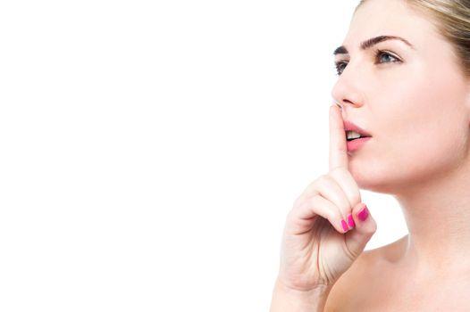 Beauty woman gesturing silence