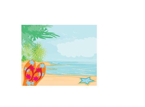 Flip-flops and seashell on the beach