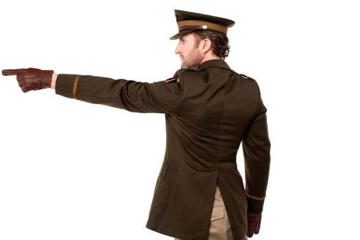American soldier pointing at something