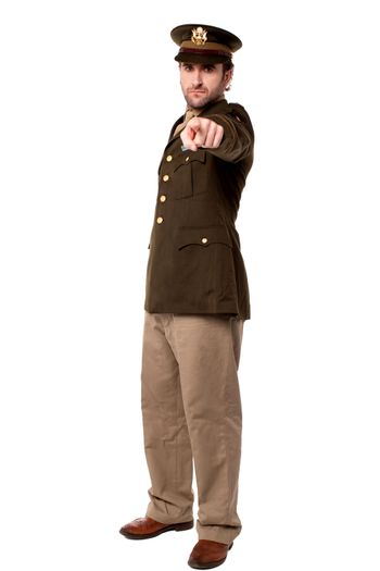 Military man pointing you out