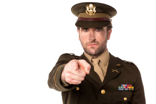 Military serviceman pointing you out