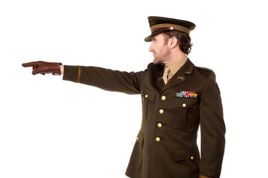 Military personnel pointing away