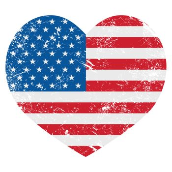 United States on America retro heart flag - vector