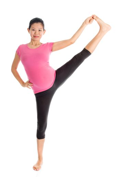 Asian pregnant pilates