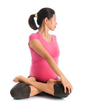 Pregnant yoga position