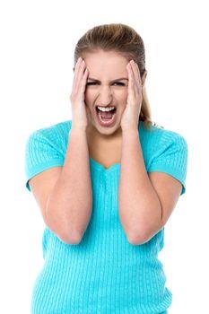 Angry female model yelling