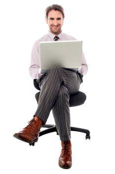 Corporate guy preparing presentaion