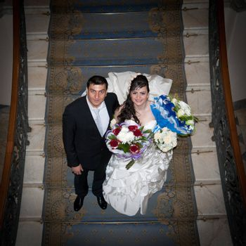 Bride Groom staircase view from above