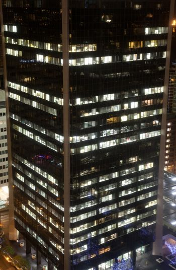 Night scene of modern buildings in vancouver downtown
