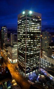 Night scene of modern buildings in vancouver