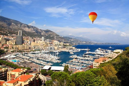 Aerial view of Monaco harbor on sunny day