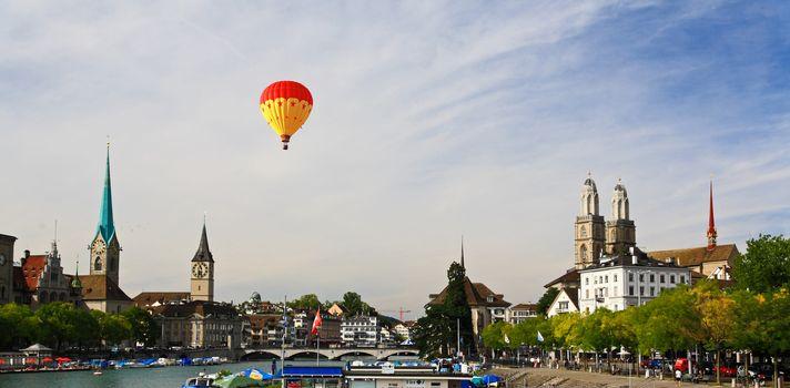 The major landmarks of Zurich cityscape Switzerland