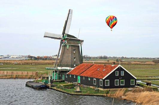 The historical windmill in the Dutch countryside
