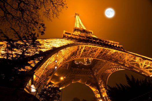 PARIS, FRANCE - DECEMBER 2: Ceremonial lighting of the Eiffel tower on  DECEMBER 2, 2010 in Paris, France. The Eiffel tower is the most visited monument of France.