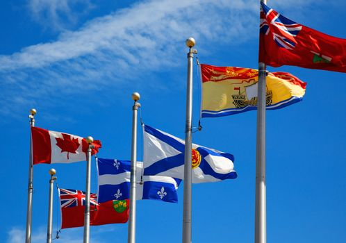 The Canada and its provincial flags in Ottawa