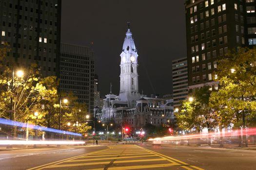Philadelphia City Hall building at night