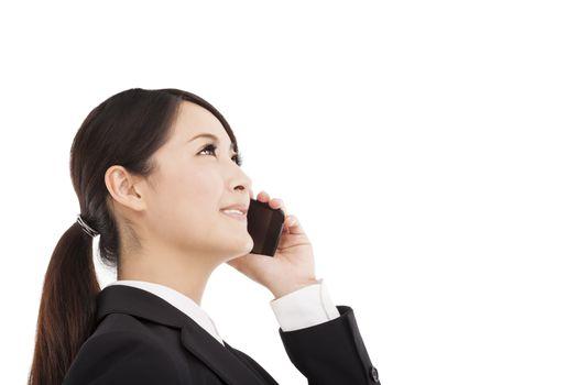 happy businesswoman talking on cellphone