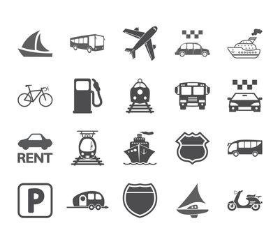 Transportation icon set. Vector illustration.