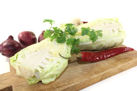 pointed cabbage with parsley and onions