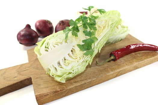 pointed cabbage with parsley and peppers