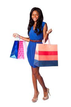 Smiling consumer shopping woman